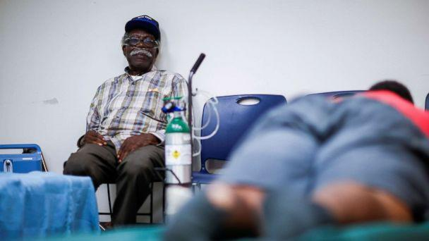 PHOTO: A man attached to a respiratory machine sits in a shelter run by Red Cross before Hurricane Florence comes ashore in Grantsboro, N.C., Sept. 13, 2018. (Eduardo Munoz/Reuters)