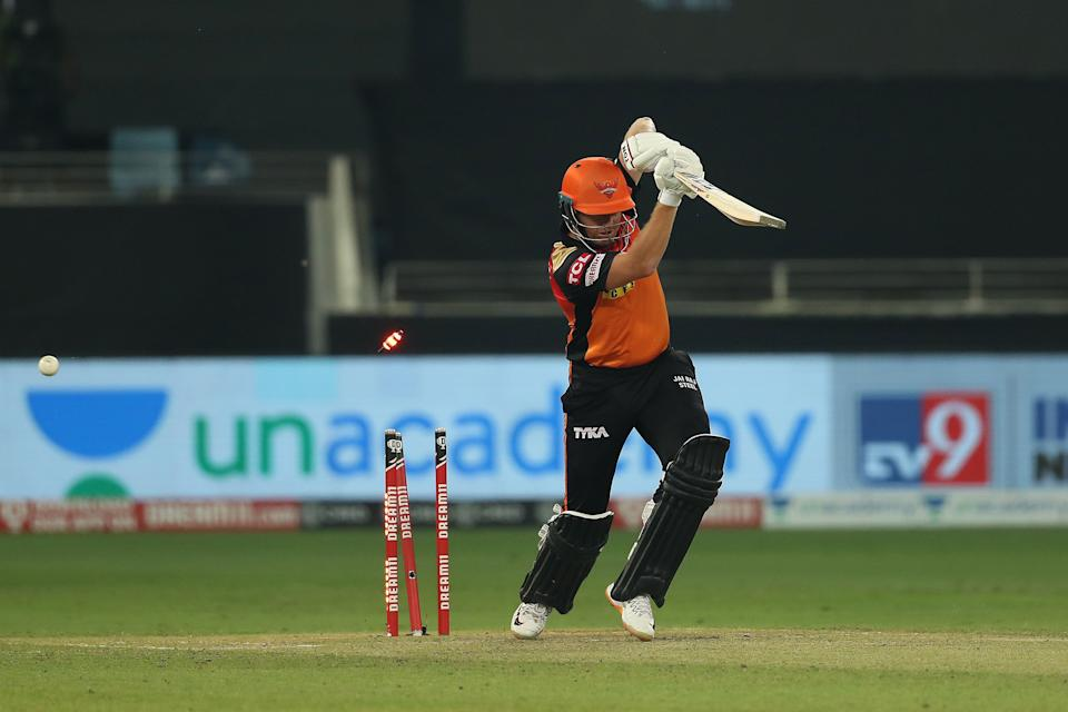 Jonny Bairstow of Sunrisers Hyderabad is bowled by Jofra Archer of Rajasthan Royals during match 40 of season 13 of the Dream 11 Indian Premier League (IPL) between the Rajasthan Royals and the Sunrisers Hyderabad.