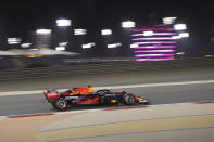 Red Bull driver Max Verstappen of the Netherlands steers his car during the qualifying session for Sunday's Bahrain Formula One Grand Prix, at the Bahrain International Circuit in Sakhir, Bahrain, Saturday, March 27, 2021. The Bahrain Formula One Grand Prix will take place on Sunday. (AP Photo/Kamran Jebreili)