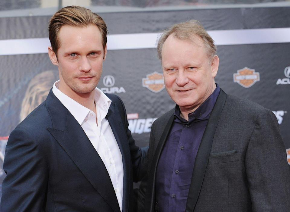 """<p><strong>Famous parent(s)</strong>: actors My and <a href=""""https://www.menshealth.com/entertainment/a27702146/chernobyl-stellan-skarsgaard/"""" rel=""""nofollow noopener"""" target=""""_blank"""" data-ylk=""""slk:Stellan Skarsgård"""" class=""""link rapid-noclick-resp"""">Stellan Skarsgård</a><br><strong>What it was like</strong>: """"He was a great dad when I was growing up but it was tough because I didn't get to see him much,"""" Alexander has <a href=""""http://entertainment.inquirer.net/96547/alexander-skarsgard-reveals-new-character-in-his-true-blood-life-will-eric-be-killed-off"""" rel=""""nofollow noopener"""" target=""""_blank"""" data-ylk=""""slk:said"""" class=""""link rapid-noclick-resp"""">said</a>. """"He worked 16-hour days, six-to-seven days a week. I would go to the theater and hang out backstage to see dad, basically.""""</p>"""