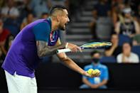 Nick Kyrgios berates the umpire over automatic net cord calling in one of several outburst during the match with Ugo Humbert
