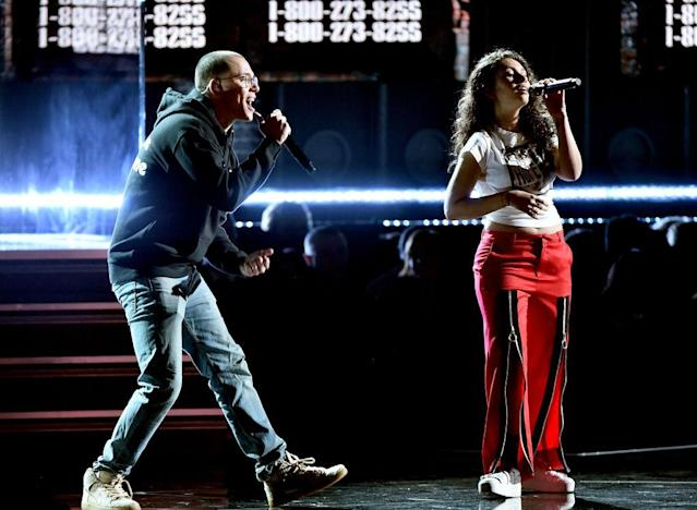 <p>Logic and Alessia Cara perform onstage during the 60th Annual Grammy Awards at Madison Square Garden on January 28, 2018, in New York City. (Photo: Getty Images) </p>