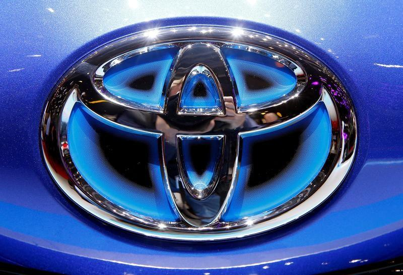 FILE PHOTO: The Toyota logo seen during the 87th International Motor Show at Palexpo in Geneva