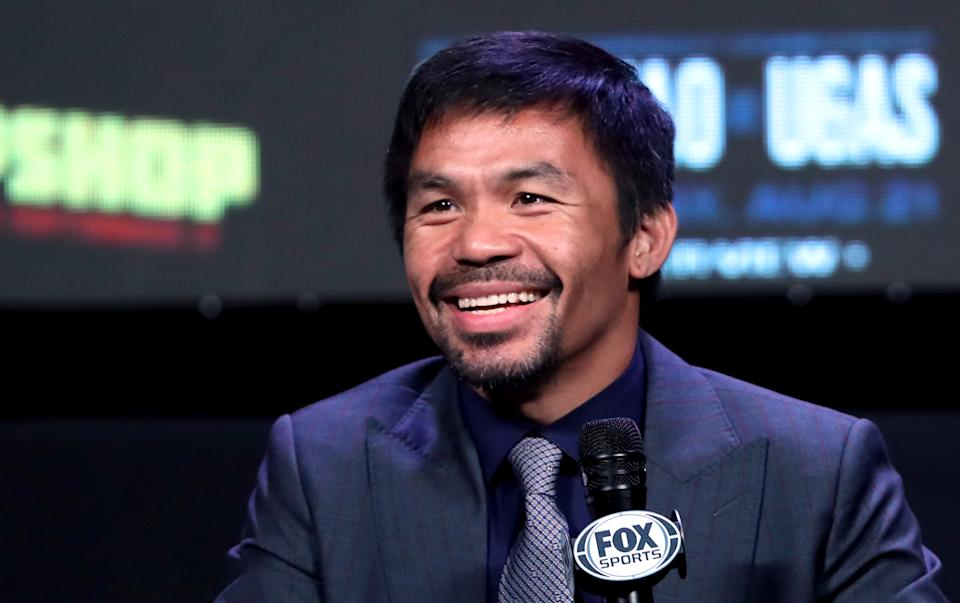 LAS VEGAS, NEVADA - AUGUST 18: Manny Pacquiao attends a news conference at MGM Grand Garden Arena on August 18, 2021 in Las Vegas, Nevada. Pacquiao will challenge WBA welterweight champion Yordenis Ugas for his title at T-Mobile Arena on August 21 in Las Vegas. (Photo by Steve Marcus/Getty Images)