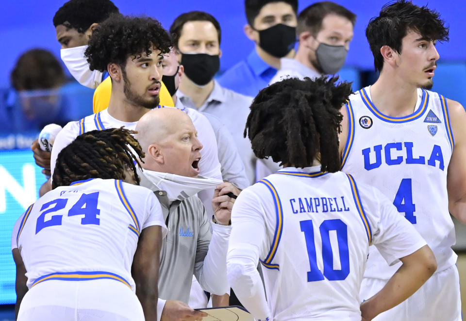 Mick Cronin head coach of the UCLA Bruins while playing the Colorado Buffaloes at UCLA Pauley Pavilion on January 02, 2021 in Los Angeles, California. (Photo by John McCoy/Getty Images)