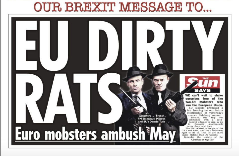 The Sun front page which drew criticism from the EU