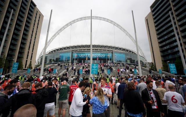 The fans started gathering early under the Wembley arch