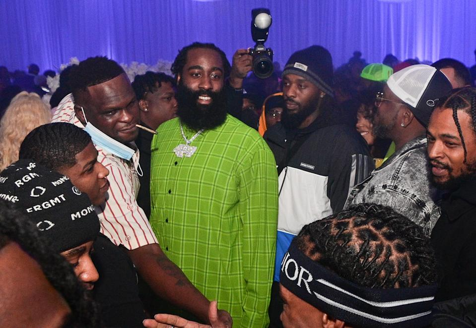 ATLANTA, GA - DECEMBER 03: James Harden and Lil Baby attend Lil Baby's Ice Ball on December 3, 2020 in Atlanta, Georgia. (Photo by Prince Williams/Wireimage)