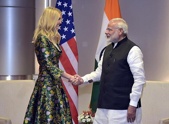 Ivanka Trump meets Indian Prime Minister Narendra Modi before the 2017 Global Entrepreneurship Summit. (Photo by Government of India/Handout/Anadolu Agency/Getty Images)