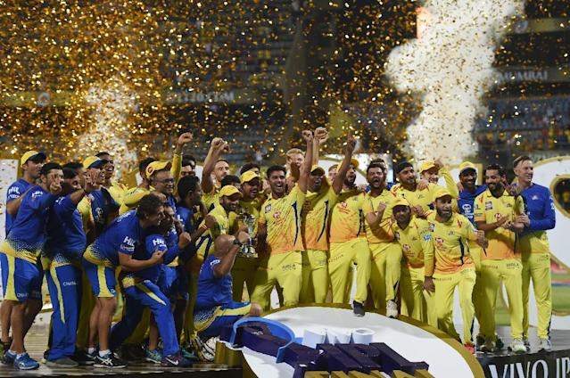 Chennai Super Kings players celebrate after winning the 2018 Indian Premier League (AFP Photo/PUNIT PARANJPE)