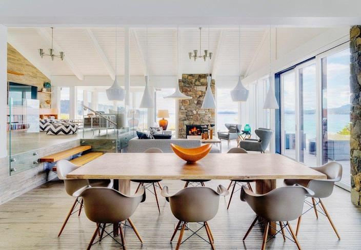 This living and dining area is a little too midcentury modern for our taste.