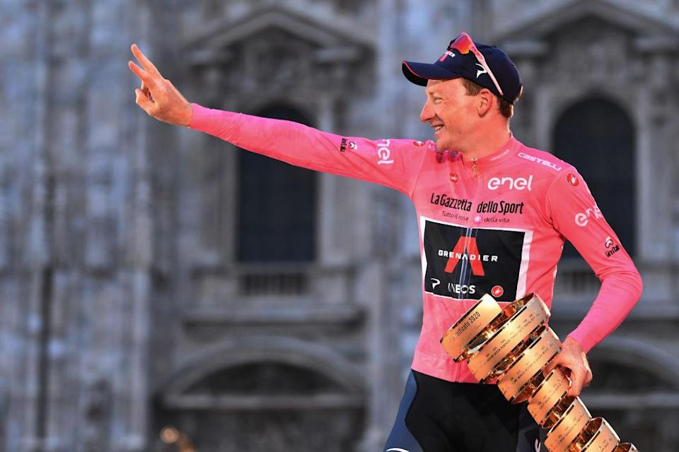 Tao Geoghegan Hart (Ineos Grenadiers) celebrates his overall victory at the 2020 Giro d'Italia