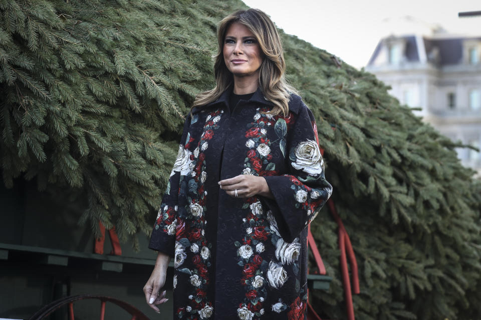 First Lady Melania Trump stands next to the White House Christmas Tree at the North Portico of the White House on November 25, 2019 in Washington, D.C. 2019. Larry Snyder of Mahantongo Valley Farms presented the Pennsylvania-grown Christmas Tree to Melania Trump and the tree will be displayed in the White House Blue Room (Photo by Oliver Contreras/SIPA USA)