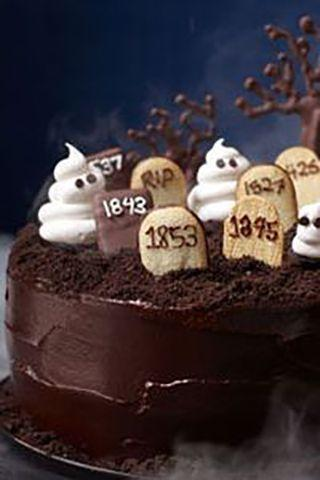 """<p>This chocolate graveyard cake includes freshly brewed coffee, so you might want to keep it away from the little ones.</p><p><strong><em><a href=""""https://www.womansday.com/food-recipes/food-drinks/recipes/a11822/graveyard-cake-recipe-123437/"""" rel=""""nofollow noopener"""" target=""""_blank"""" data-ylk=""""slk:Get the Graveyard Cake recipe."""" class=""""link rapid-noclick-resp"""">Get the Graveyard Cake recipe. </a></em></strong></p>"""