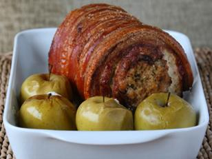 Roast Loin of Pork with Baked Apples & Quinoa Stuffing