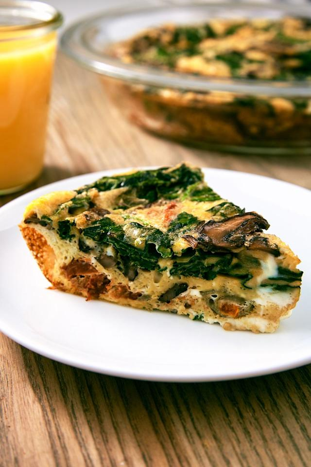 "<p>No crust, no problem. </p><p>Get the recipe from <a href=""https://www.delish.com/cooking/recipe-ideas/a25648042/crustless-quiche-recipe/"" target=""_blank"">Delish</a>. </p>"