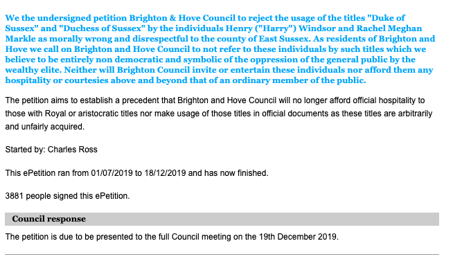 Screenshot of an online petition from Brighton and Hove City Council calling for the removal of the Sussex title from Meghan and Harry