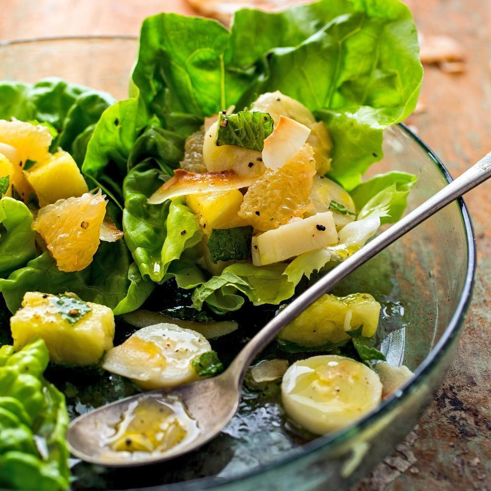 <p>In this healthy side salad recipe, hearts of palm bring balance to the flavors of this pleasantly sweet tropical fruit salad with pineapple, grapefruit and bananas. Serve alongside grilled chicken or coconut-crusted fish.</p>