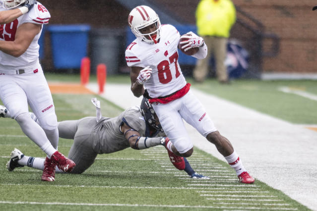 Wisconsin wide receiver Quintez Cephus (87) is back on the team. (AP Photo/Bradley Leeb)