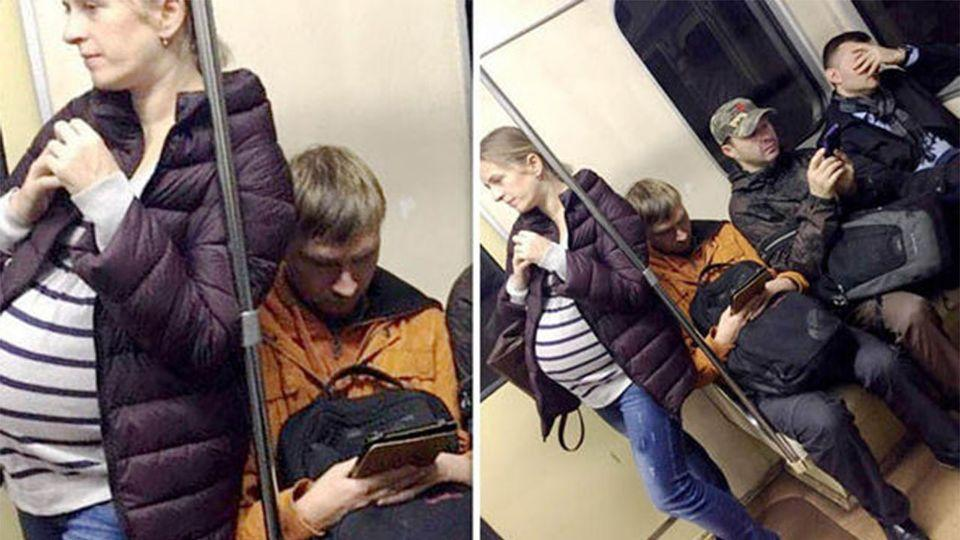 This heavily pregnant woman was left standing as three men failed to offer their seat. Source: Facebook