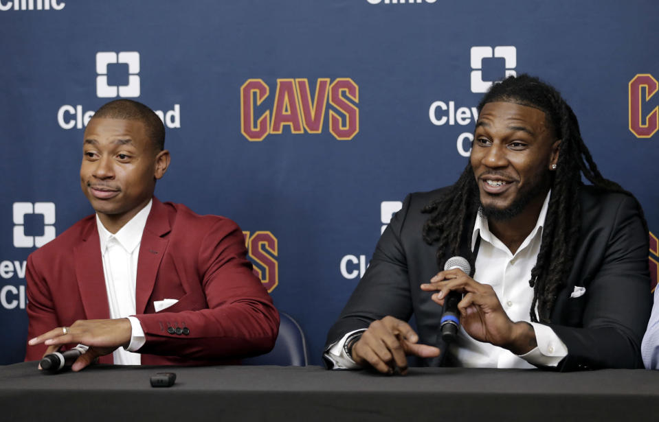 So, this happened. Isaiah Thomas and Jae Crowder are really on the Cleveland Cavaliers now. (AP)