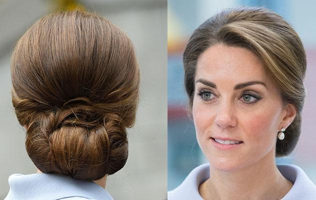 Kate used a hairnet to keep her 'do in place while in the Netherlands this week. Photo: Getty images