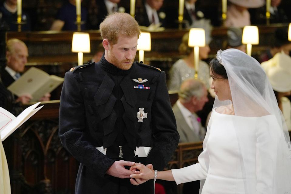 A body language expert said Ms Markle was the strong one in the couple during the ceremony (Picture: PA)