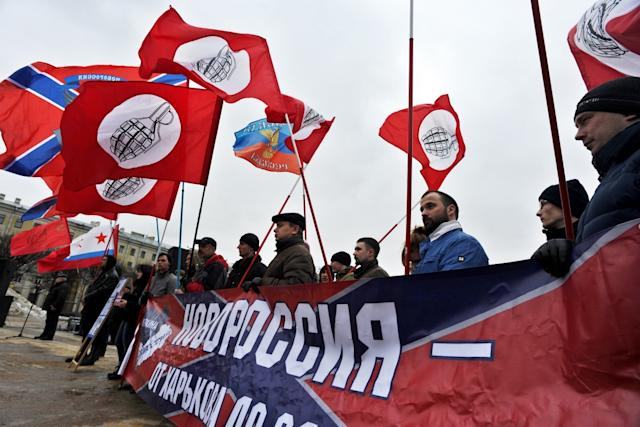 A Pro-Russian separatist group at a rally