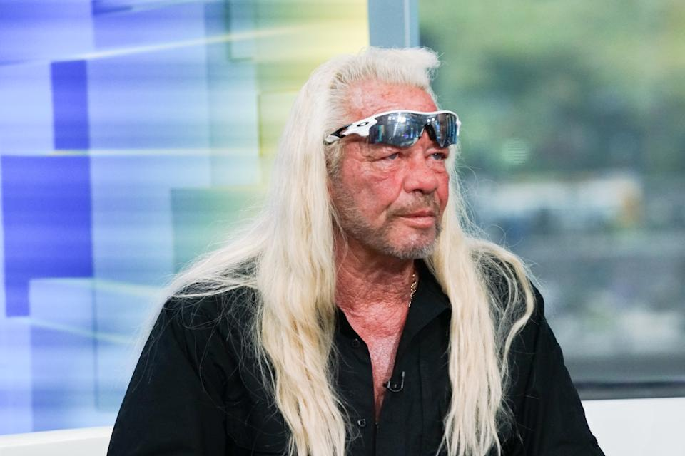 """NEW YORK, NEW YORK - AUGUST 28:TV personality Duane Chapman aka Dog the Bounty Hunter  visits """"FOX & Friends"""" at FOX Studios on August 28, 2019 in New York City. (Photo by Bennett Raglin/Getty Images)"""