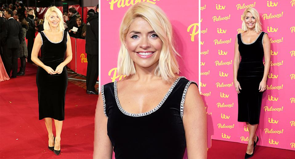 Holly Willoughby wears a Christoper Kane dress on the red carpet. [Photo: Getty]