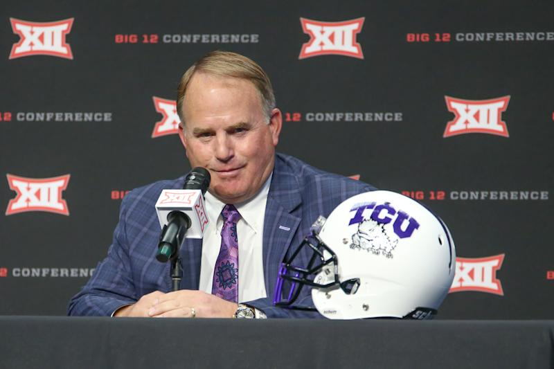 ARLINGTON, TX - JULY 15: TCU head coach Gary Patterson speaks during the Big 12 Media Days on July 15, 2019 at AT&T Stadium in Arlington, TX. (Photo by George Walker/Icon Sportswire via Getty Images)