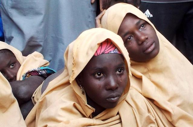 Some of the newly-released Dapchi schoolgirls are pictured in Jumbam village, Yobe State, Nigeria March 21, 2018. REUTERS/REUTERS/Ola Lanre TPX IMAGES OF THE DAY