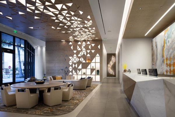 Lobby at ʻAʻaliʻi®, the fifth residential tower to open at Ward Village®