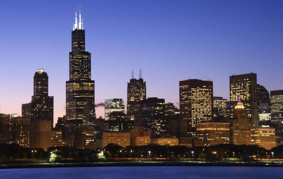 The Willis Tower, also known as the Sears Tower, in Chicago was built in 1974. It is 442m high, and has 110 floors.
