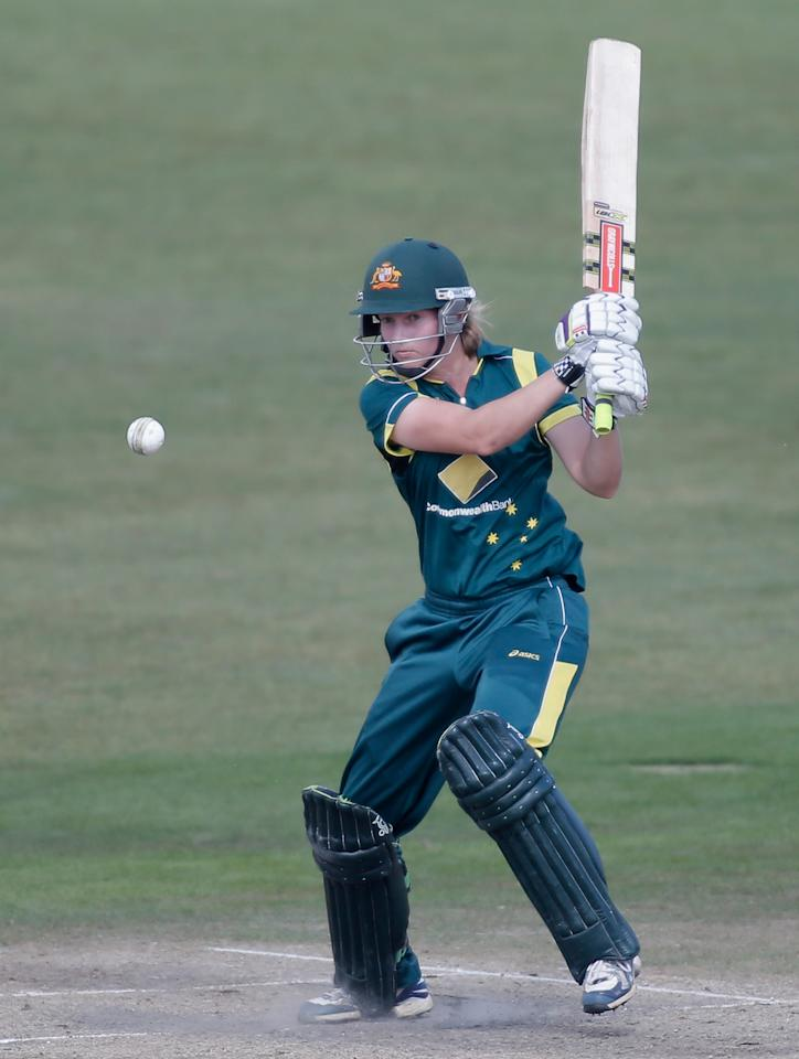 HOVE, ENGLAND - AUGUST 25:  Meg Lanning of Australia hits out during the third NatWest One Day International match between England and Australia at the BrightonandHoveJobs.com County Ground on August 25, 2013 in Hove, England.  (Photo by Harry Engels/Getty Images)