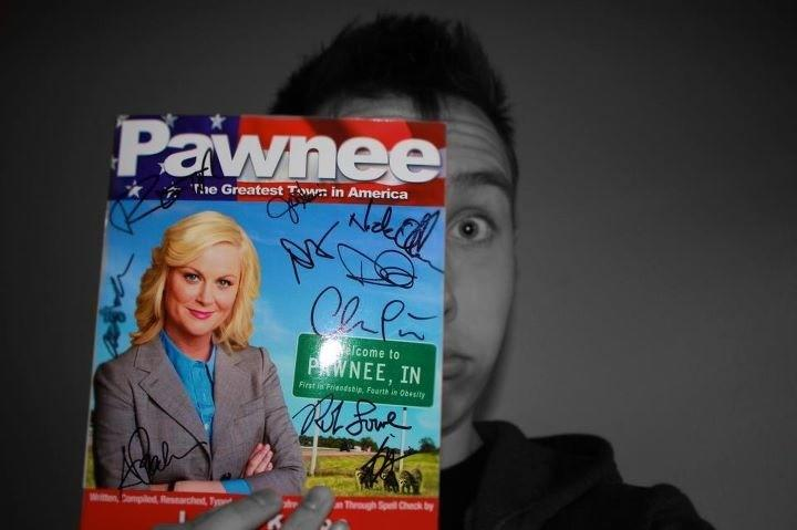 "Christmas came early for <a href=""http://twitter.com/#!/austcheen/"" rel=""nofollow"">@austcheen</a> when he received a signed ""<a href=""/parks-recreation/show/42828"">Parks & Recreation</a>"" book. Any takers on a road trip to Pawnee with him?"