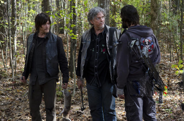 <p>Dude was gonna watch as his men raped and murdered Carl and Michonne, then murdered Rick and Daryl. Rick's nosh on Joe's jugular stopped all that, but still, Joe? He definitely claimed the title of Very Bad Man.<br>(Photo: AMC) </p>