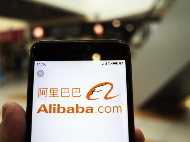 UKRAINE - 2020/01/26: In this photo illustration the Alibaba logo is seen displayed on a smartphone. (Photo Illustration by Igor Golovniov/SOPA Images/LightRocket via Getty Images)