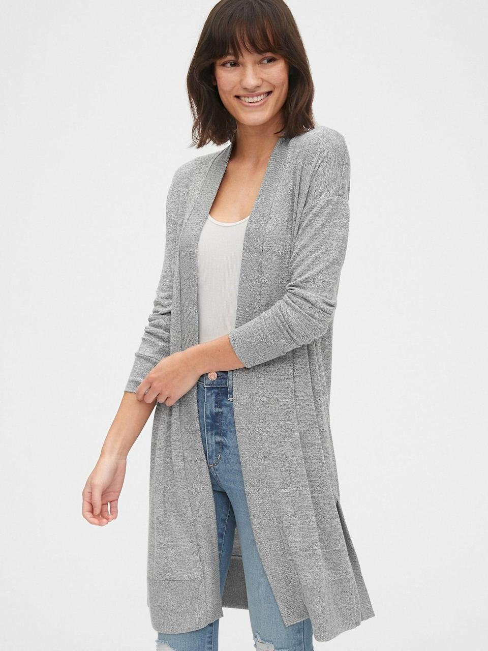 <p>A chicer alternative to a robe, but just as cozy this <span>Gap Softspun Cardigan</span> ($53, originally $60) can be thrown on over your favorite tank top with a pair of jeans.</p>