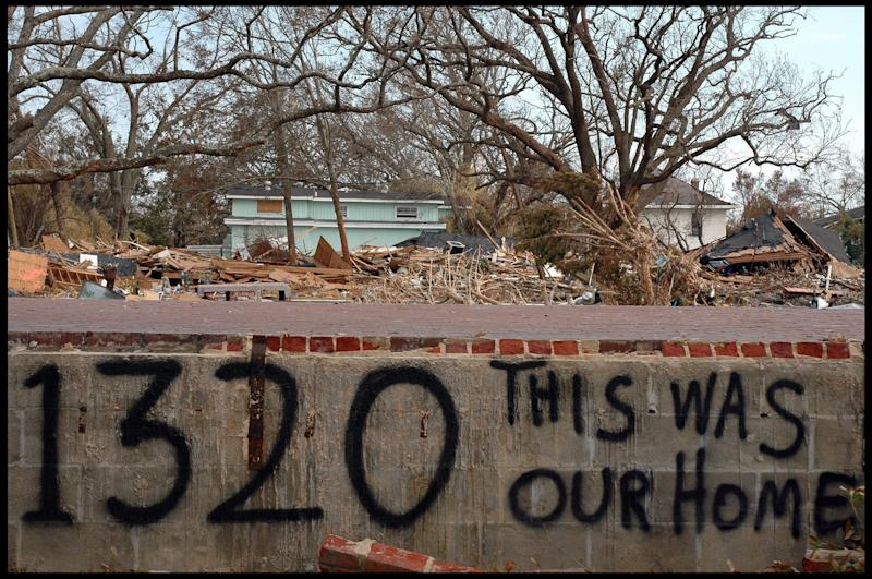 People had left messages in the wake of Hurricane Katrina's destruction. (Jerome De Perlinghi/Corbis via Getty Images)