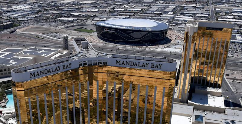 An aerial view shows Allegiant Stadium, which will host the 2021 Pro Bowl, under construction west of Mandalay Bay Resort and Casino. (Photo by Ethan Miller/Getty Images)