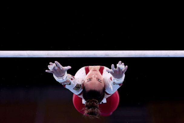 PHOTO: Pauline Schaefer-Betz of Team Germany competes on uneven bars during Women's Qualification on day two of the Tokyo 2020 Olympic Games at Ariake Gymnastics Centre on July 25, 2021 in Tokyo, Japan. (Ezra Shaw/Getty Images)