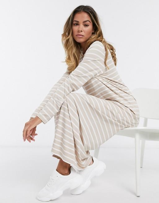 ASOS DESIGN long sleeve maxi t-shirt dress in taupe and white stripe | ASOS