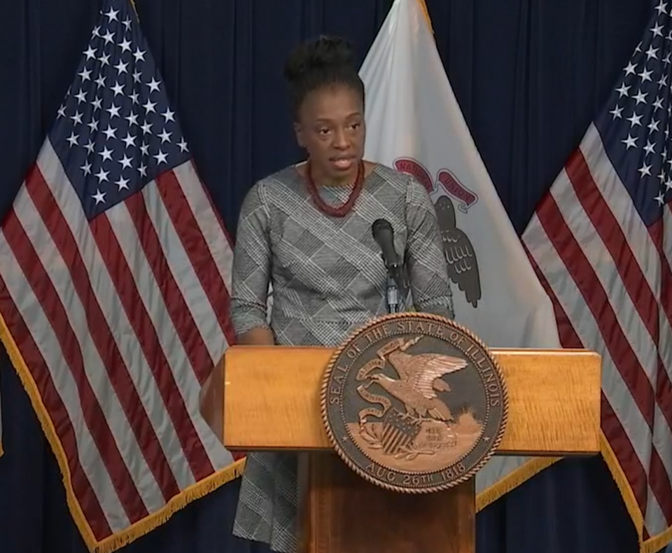 "IDPH Director Dr. Ngozi Ezike warned hospitals in some regions of Illinois are in a ""dire"" situation. (Image via video/Office of Gov. Pritzker)"
