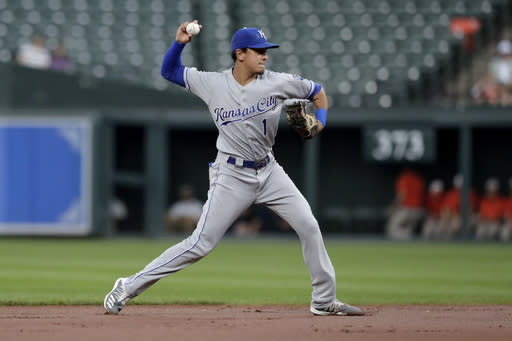 Kansas City Royals shortstop Nicky Lopez throws to first after fielding a ground ball from Baltimore Orioles' Jonathan Villar during the first inning of a baseball game Tuesday, Aug. 20, 2019, in Baltimore. (AP Photo/Julio Cortez)