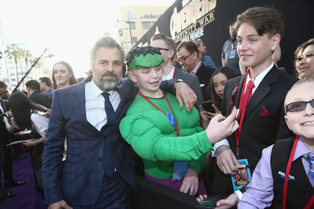 <p>Of course he stopped for the Hulk fan. (Photo: Tommaso Boddi/Getty Images for Disney) </p>