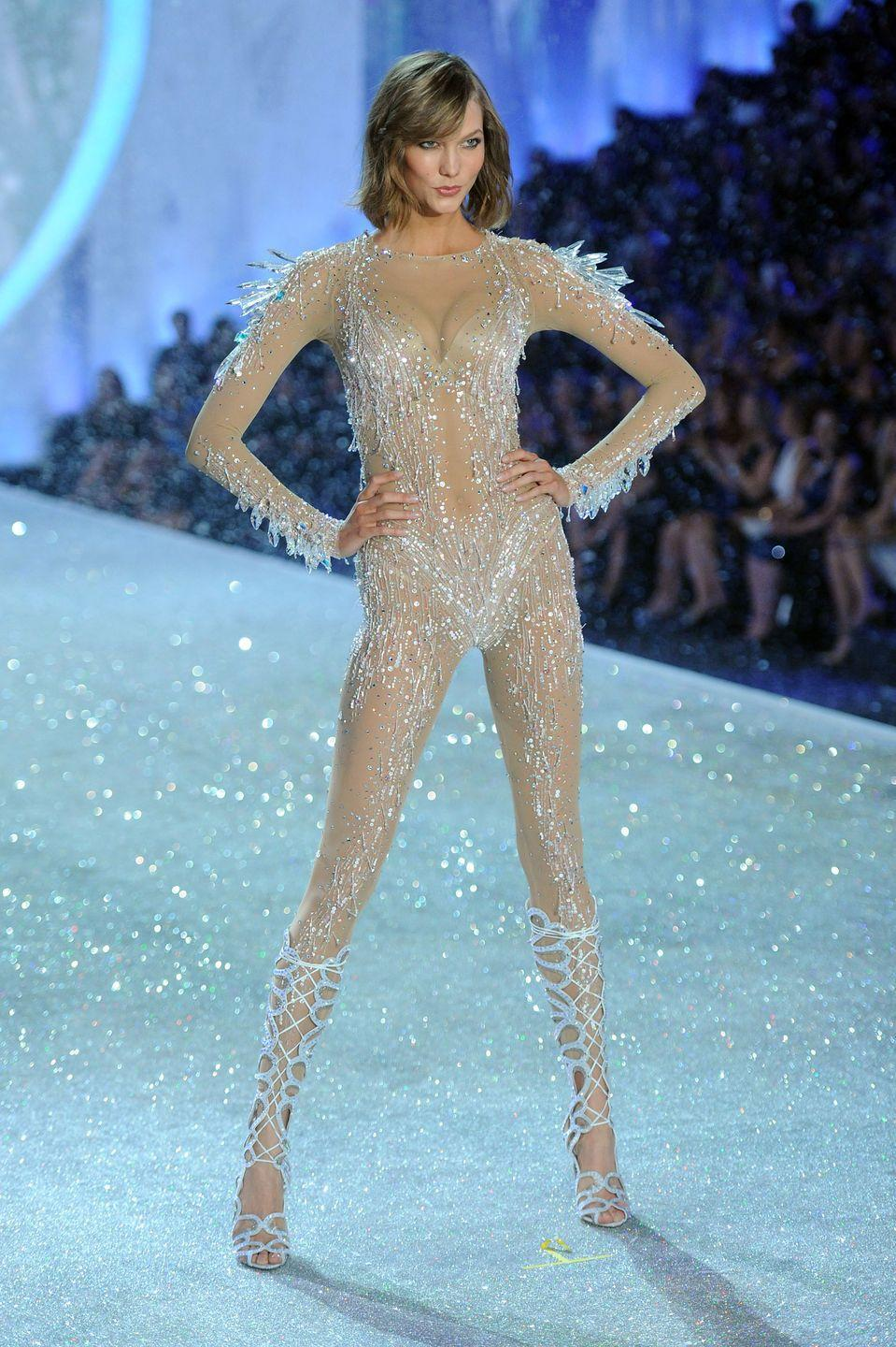"<p>Long before walking the biggest shows at fashion week, Kloss walked a charity fashion show in her Missouri hometown. Then, at the age of 15, she made her New York Fashion Week debut on Calvin Klein's runway.</p><p>""I was discovered at 13 in a mall in St. Louis. I had never been on an airplane, actually."" she told <a href=""https://www.cbsnews.com/news/supermodel-karlie-kloss-new-york-fashion-week-coding/"" rel=""nofollow noopener"" target=""_blank"" data-ylk=""slk:CBS"" class=""link rapid-noclick-resp"">CBS</a> in 2015.</p><p>Since, Kloss has walked every major runway in New York, London, Milan, and Paris—along with starring in campaigns for brands like Oscar de la Renta, Versace, and Diane von Furstenberg. In 2015, she partnered with Flatiron School and Code.org to create a scholarship program, <a href=""https://www.kodewithklossy.com/"" rel=""nofollow noopener"" target=""_blank"" data-ylk=""slk:Kode with Klossy,"" class=""link rapid-noclick-resp"">Kode with Klossy,</a> which supports young girls who are interested in computer science to become leaders in tech. </p>"