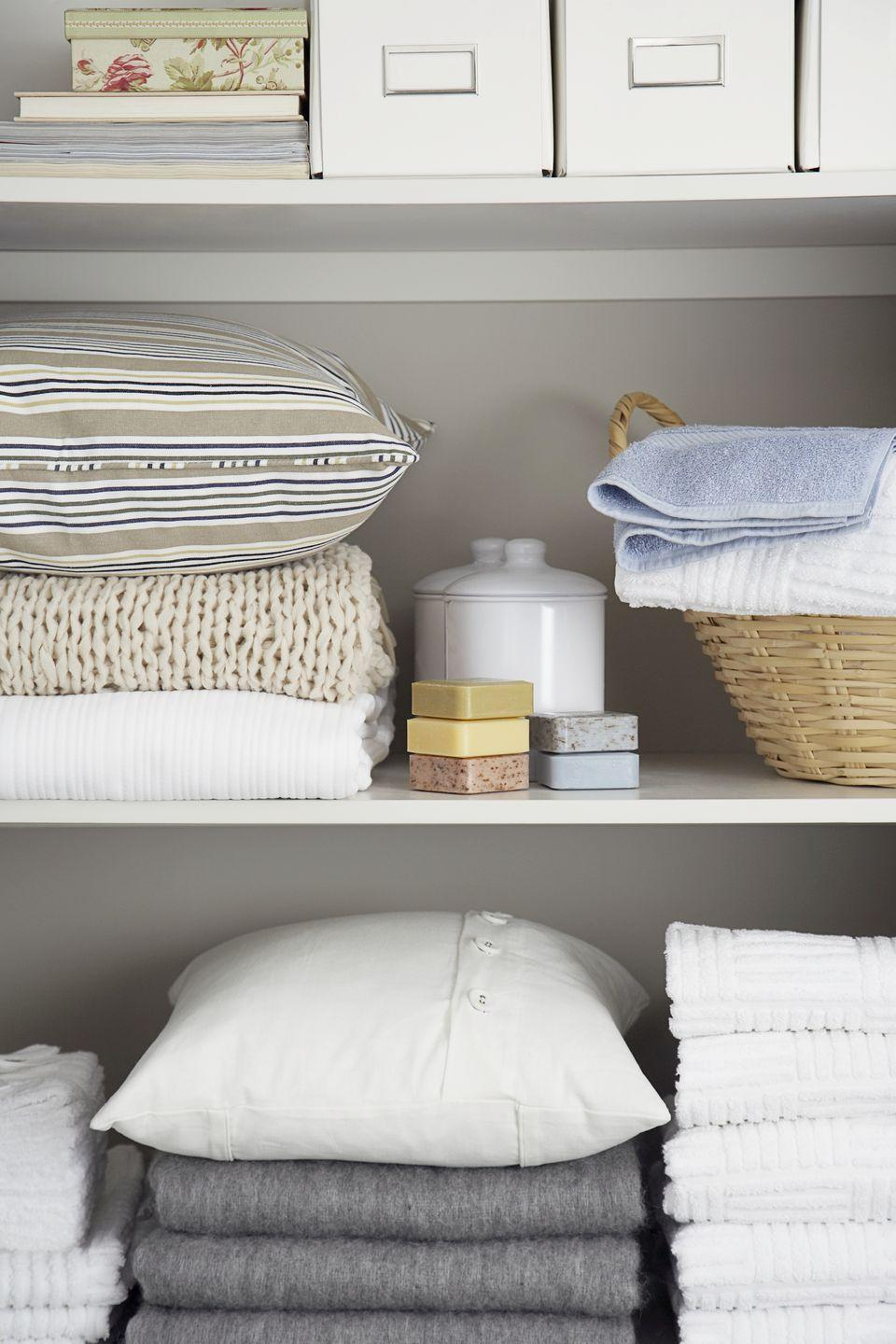"""<p>Put that box of old rags and T-shirts to good use and put them next to your <a href=""""https://www.womansday.com/home/organizing-cleaning/g23786765/cleaning-organizing-great-value-awards-2018/"""" rel=""""nofollow noopener"""" target=""""_blank"""" data-ylk=""""slk:cleaning products"""" class=""""link rapid-noclick-resp"""">cleaning products</a> for easy access. </p>"""