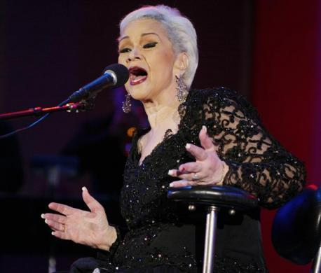 "Legendary jazz vocalist Etta James performs at the 26th annual Playboy Jazz Festival at the Hollywood Bowl in Hollywood June 19, 2004.James had her first hit ""Roll With Me, Henry"" in 1954, has been inducted into the Rock 'n' Roll Hall of Fame and has a lifetime achievement award fro the National Academy of Recording Arts and Sciences. REUTERS/Fred Prouser  FSP/DL"