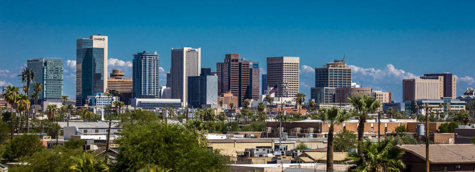 PHOENIX ARIZONA, Panoramic skyline view of Phoenix downtown. (Photo by: Visions of America/Universal Images Group via Getty Images)